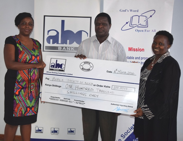Bible Society of Kenya cheque presentation