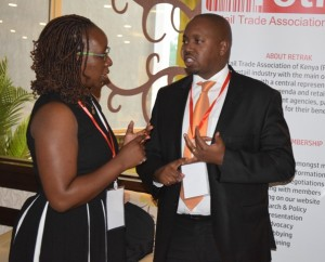ABC Bank Head of SME Banking Lee Gachomba with REtrak CEO Wambui Mbarire during the forum.